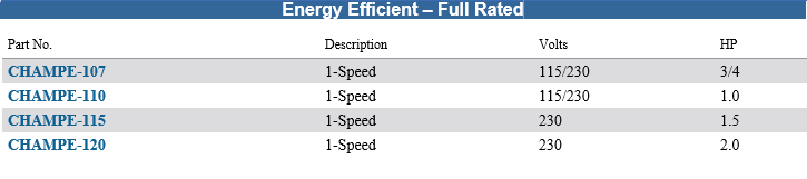 Energy Efficient - Full Rated Chart